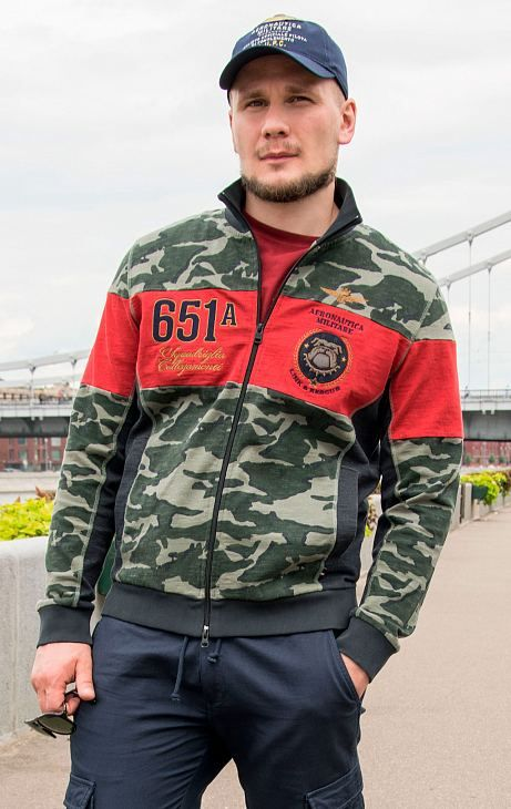 Толстовка AERONAUTICA MILITARE SS 20/IN camouflage/rosso/blue navy (FE 1489)